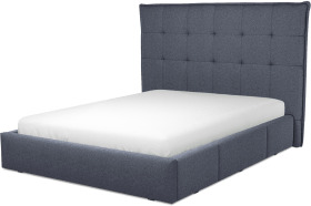 An Image of Lamas King Size Bed with Storage Drawers, Navy Wool