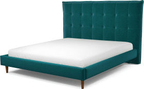 An Image of Lamas Super King Size Bed, Tuscan Teal Velvet with Walnut Stained Oak Legs