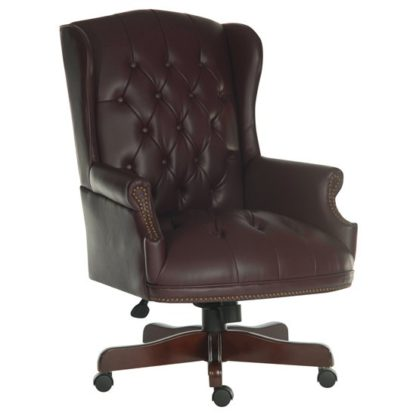 An Image of Chairman Traditional Faux Leather Executive Chair In Burgundy