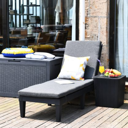 An Image of Faro Black Lounger with Grey Cushion Black