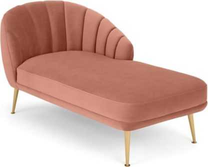 An Image of Primrose Right Hand Facing Chaise Longue, Velvet Blush Pink