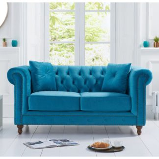 An Image of Propus Plush Fabric 2 Seater Sofa In Teal