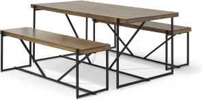 An Image of Morland Dining Table & Bench Set, Mango Wood