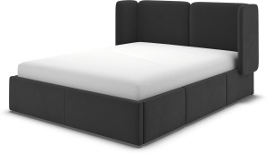 An Image of Ricola Super King Size Bed with Storage Drawers, Ashen Grey Cotton Velvet
