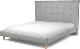 An Image of Lamas Super King Size Bed, Wolf Grey Wool with Oak Legs