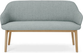 An Image of Erdee Dining Bench, Grey Blue Weave with Oak Legs