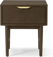 An Image of Mallory Bedside Table, Walnut Stained Oak & Brass