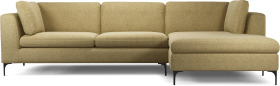 An Image of Monterosso Right Hand Facing Chaise End Sofa, Textured Yellow Mustard with Black Leg