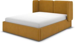 An Image of Ricola King Size Ottoman Storage Bed, Dijon Yellow Cotton Velvet