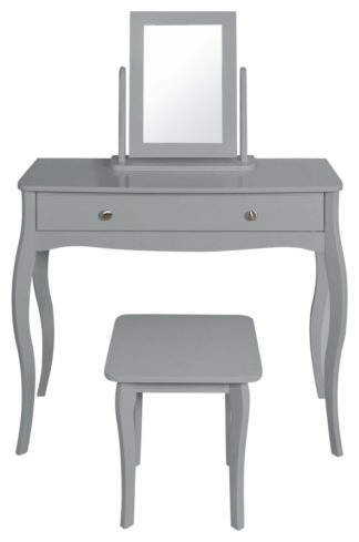 An Image of Amelie Dressing Table, Mirror and Stool - Grey