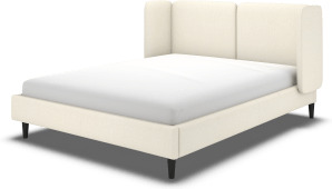An Image of Ricola Super King Size Bed, Ivory White Boucle with Black Stained Oak Legs