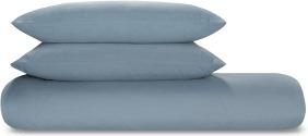 An Image of Tira Linen/Cotton Duvet Cover + 2 Pillowcases, King, Storm Blue