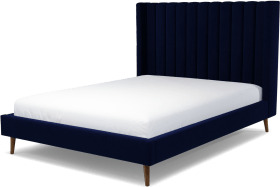 An Image of Cory King Size Bed, Prussian Blue Cotton Velvet with Walnut Stained Oak Legs