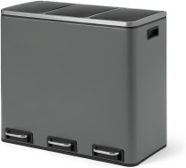 An Image of Colter 54L Soft Close Triple Recycling Pedal Bin, x3 18L, Dark Grey