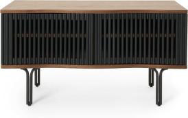 An Image of Zaragoza Compact TV Unit, Walnut & Charcoal Black