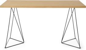 An Image of Solly Wide Desk, Oak & Black Steel