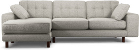 An Image of Content by Terence Conran Tobias, Left Hand facing Chaise End Sofa, Textured Weave Grey, Dark Wood Leg