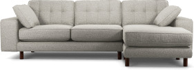 An Image of Content by Terence Conran Tobias, Right Hand facing Chaise End Sofa, Textured Weave Grey, Dark Wood Leg