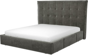 An Image of Lamas Super King Size Bed with Storage Drawers, Steel Grey Velvet