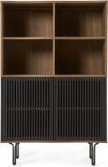 An Image of Zaragoza Highboard, Walnut & Charcoal Black