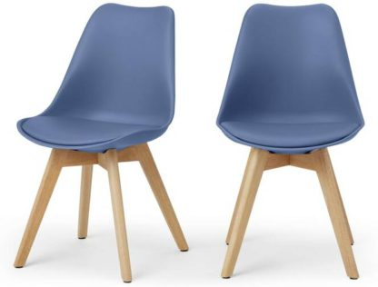 An Image of Deon Set of 2 Dining Chairs, Royal Blue with Oak Stain Legs