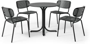 An Image of Emu 4 Seat Garden Dining Set, Dark Grey Powder-Coated Steel
