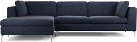 An Image of Monterosso Left Hand Facing Chaise End Sofa, Textured Mist Blue with Chrome Leg
