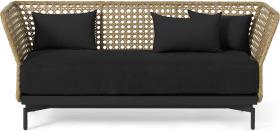 An Image of Balawa Garden 3 Seater Sofa, Natural & Grey