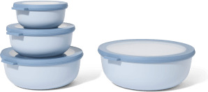 An Image of Mepal Set of 4 Shallow Lidded Storage Bowls, Nordic Blue