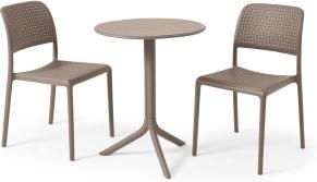 An Image of Nardi 2 Seat Bistro Set, Light Grey Fibreglass & Resin