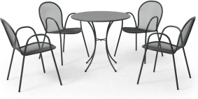 An Image of Emu 4 Seat Round Garden Dining Set, Dark Grey Powder-Coated Steel