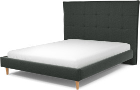 An Image of Lamas King Size Bed, Etna Grey Wool with Oak Legs