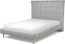 An Image of Lamas Double Bed, Wolf Grey Wool with Oak Legs