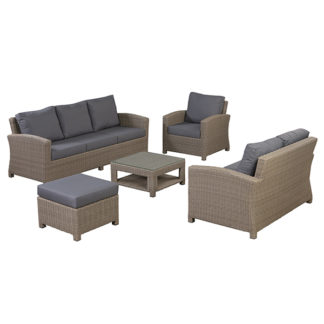 An Image of Cayton Garden Sofa Set in Natural Weave and Seal Fabric - Barker & Stonehouse