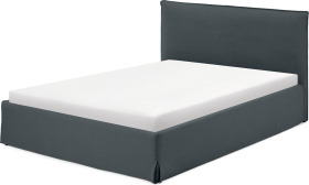 An Image of Orsa Double Ottoman Storage Bed, Evening Blue Cotton & Linen Mix