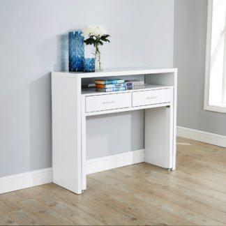 An Image of Regis White Hideaway Console Desk White