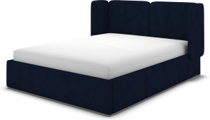 An Image of Ricola Double Bed with Storage Drawers, Prussian Blue Cotton Velvet