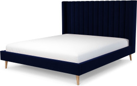 An Image of Cory Super King Size Bed, Prussian Blue Cotton Velvet with Oak Legs