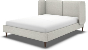 An Image of Ricola Super King Size Bed, Ghost Grey Cotton with Walnut Stained Oak Legs