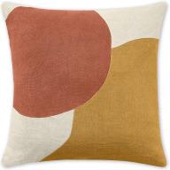 An Image of Favreau Linen Blend Cushion, 50x50cm, Tan and Terracotta