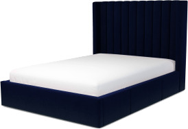 An Image of Cory Double Bed with Storage Drawers, Prussian Blue Cotton Velvet