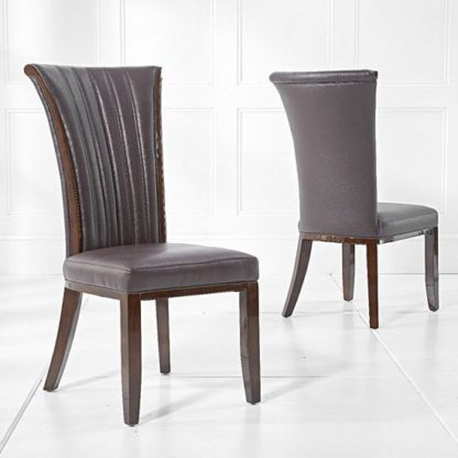 An Image of Horizen Dining Chair In Brown Bonded Leather In A Pair