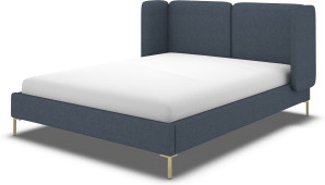 An Image of Ricola Super King Size Bed, Shetland Navy Wool with Brass Legs