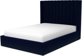 An Image of Cory Double Ottoman Storage Bed, Prussian Blue Cotton Velvet