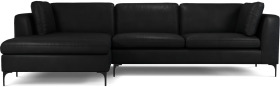 An Image of Monterosso Left Hand Facing Chaise End Sofa, Denver Black Leather with Black Leg