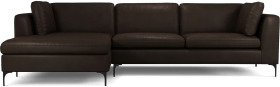 An Image of Monterosso Left Hand Facing Chaise End Sofa, Denver Dark Brown Leather with Black Leg