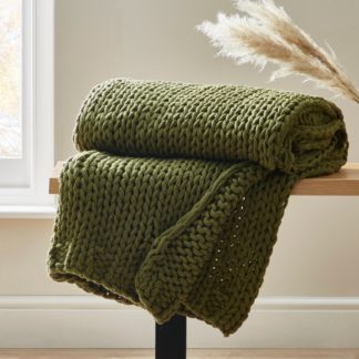 An Image of Chunky Homemade Olive Knit Throw Olive (Green)