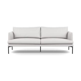 An Image of Heal's Matera 3 Seater Sofa Leather Grain White 000 Black Feet