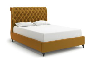 An Image of MiBed Cheshire Velvet Superking Bed Frame - Mustard