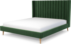 An Image of Cory Super King Size Bed, Lichen Green Cotton Velvet with Oak Legs